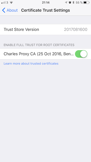 iOS certificate enabled