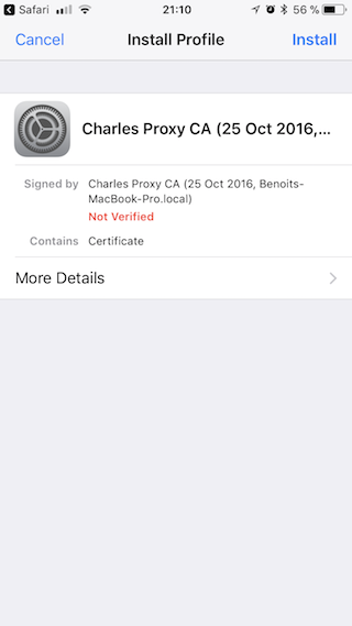 iOS certificate verified