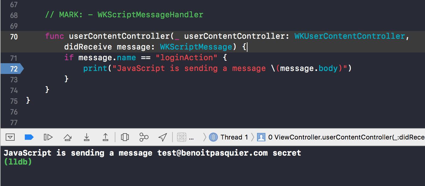 iOS Webkit, Swift 4 and Javascript
