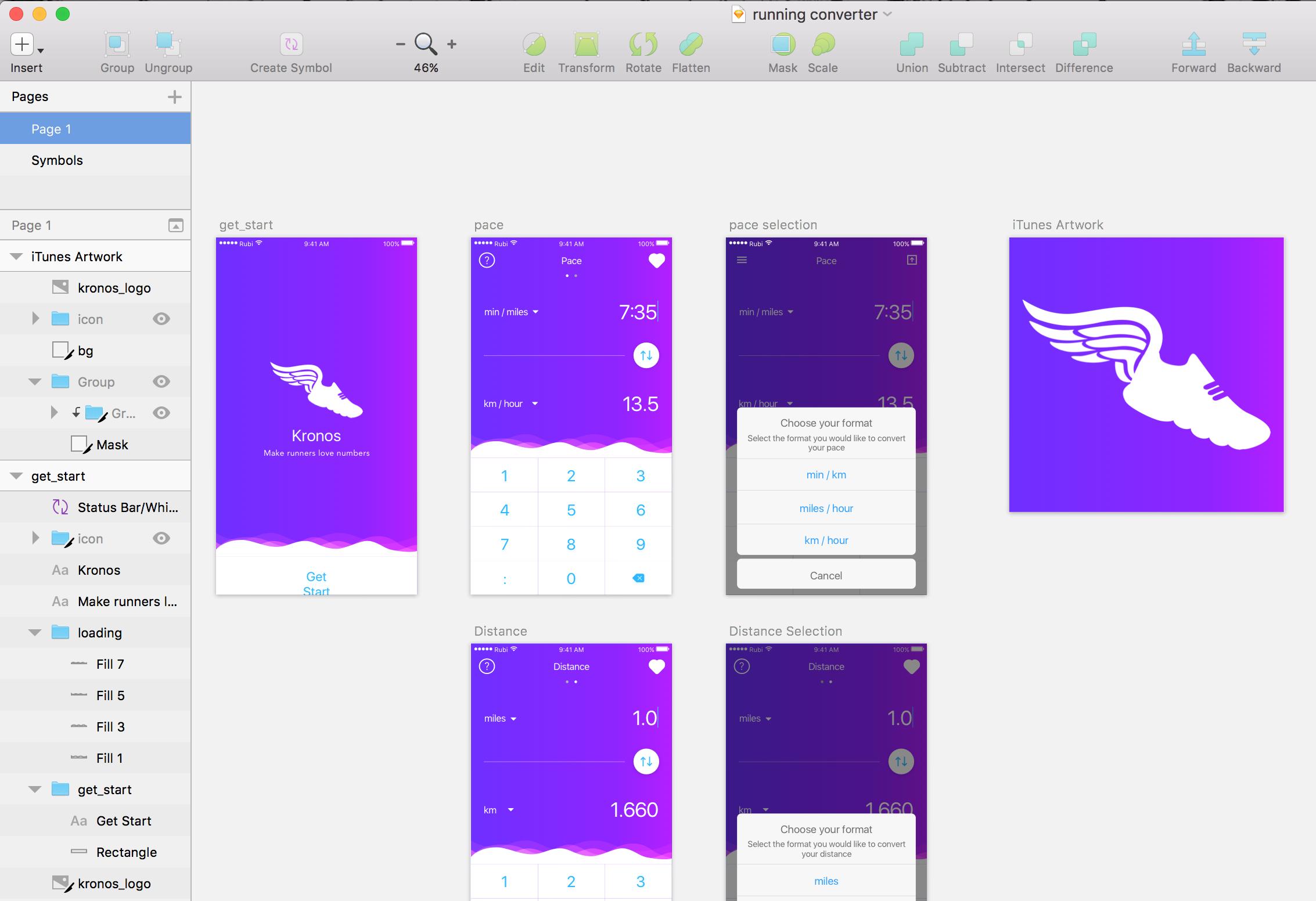 Kronos iOS Mockup