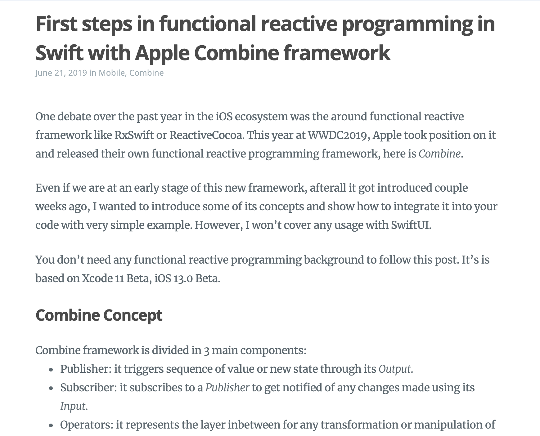 First steps in functional reactive programming in Swift with